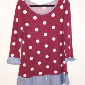 Mon Ami Adorable polka dot Tunic Size L made USA